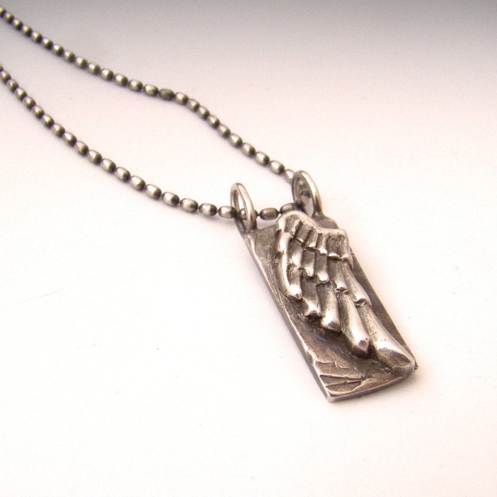 wing sterling silver wing pendant relief wing necklace