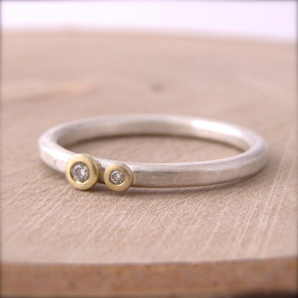 Gold Flush Set Diamond Silver Stackable Ring Dot Hammered Band 18 ...