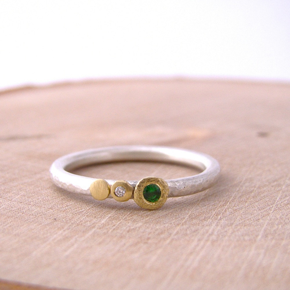 Gold Green Garnet Tsavorite Diamond Silver Stackable Ring Dot ...