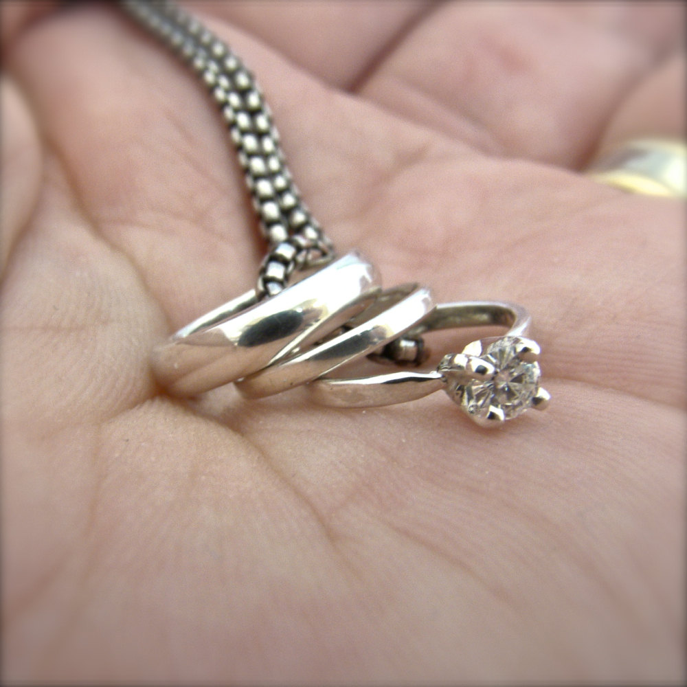 Miniature Wedding Ring Set Charm Pendant Engagement Ring Brides Gift ...